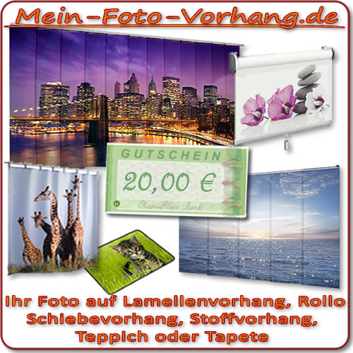 20 gutschein foto vorhang rollo lamellenvorhang schiebevorhang gardine stoff ebay. Black Bedroom Furniture Sets. Home Design Ideas